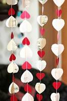 """Набор из 6 штук Подвесок- гирлянд  """"Сердце красное"""" 1,8 м. Сердечки  9*9 см"""