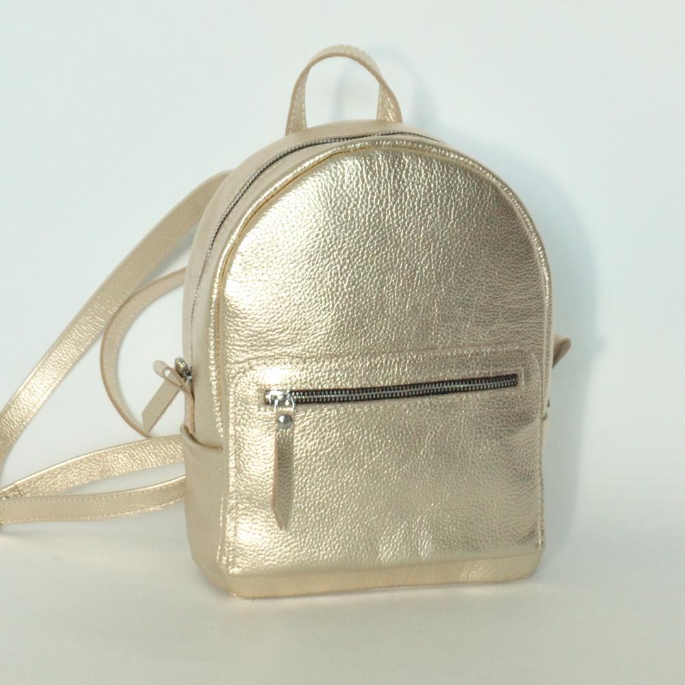 Женский кожаный рюкзак 02  золотой флотар стандарт 02020110
