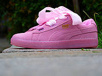 Кроссовки женские Puma Suede Basket Heart Pink (пума, реплика)