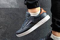 Мужские кроссовки reebok Workout Plus R12  темно синие с белым (задник коричневый)