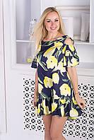 Летнее платье с рюшами/цветочный принт, фото 1