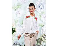 Белая женская рубашка нашивка розы, размер 42,44,46