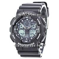 Неубиваемые спортивные наручные часы Casio G-shock GA-100 Casio Black-White (черные с белым)