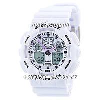 Неубиваемые спортивные наручные часы Casio G-shock GA-100 Casio White (белые)
