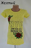 """Футболка женская меланж """"NYC"""" только желтый"""