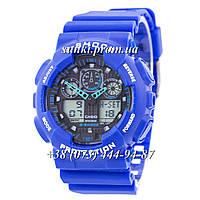 Неубиваемые спортивные наручные часы Casio G-shock GA-100 Casio Blue-Black (синие)