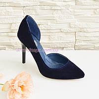 Туфли женские на шпильке, синий замш.