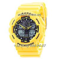 Неубиваемые спортивные наручные часы Casio G-shock GA-100 Casio Yellow-Black (желтые)