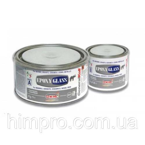 Эпоксидный морозостойкий клей GENERAL® EPOXY GLASS прозрачно-молочный 1,5кг - МРАМОР в Киеве