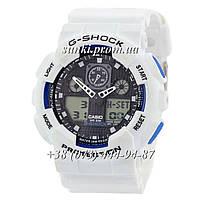 Неубиваемые спортивные наручные часы Casio G-shock GA-100 Casio White-Black-Blue (бело-черные с голубым)