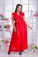 Вечернее платье на запах из атласа в трех расцветках
