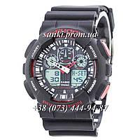 Неубиваемые спортивные наручные часы Casio G-shock GA-100 Black-Red (черные с красным)