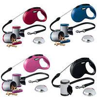 Набор Flexi рулетка поводок и аксессуары (5м,трос,до 20кг) для собак