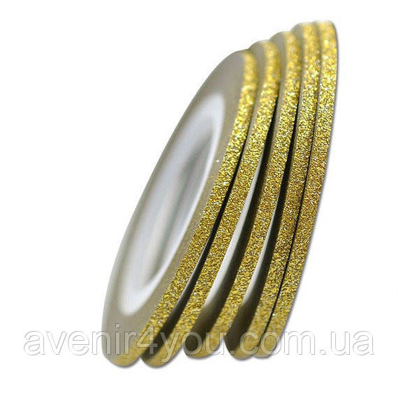 Сахарная лента -скотч для дизайна ногтей Золото 2мм