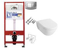 Унитаз подвесной Villeroy & Boch Avento 5656HR01 с крышкой Soft Close + Инсталляция TECEbase kit 4 в 1