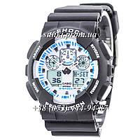 Неубиваемые спортивные наручные часы Casio G-shock GA-100 Casio Black-White Dial