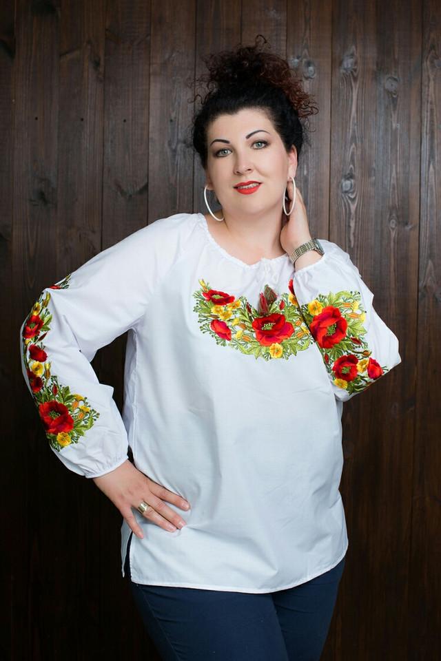 женская вышиванка с длиным рукавом