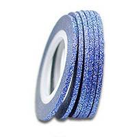Сахарная лента -скотч для дизайна ногтей Голубая 3мм
