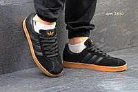 Adidas gazelle мужские черные (коричневая подошва)