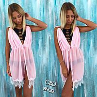 Туника женская пляжная шифон с кружевом розовая