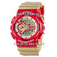 Неубиваемые спортивные наручные часы Casio G-shock GA-110 Gold-Red (красные с золотым)