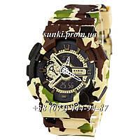Неубиваемые спортивные наручные часы Casio G-shock GA-110 Militari Gold Green (милитари)
