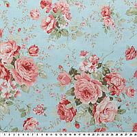 """Ткань розы винтаж, крупный принт, на выбор голубой или зелено-бежевый, коллекция """"Марго"""" голубой"""