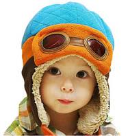 Шапка детская для мальчика утепленная Пилот