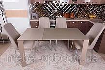 Современный обеденный раскладной стол Bristol S (Бристоль С), цвет капучино, МДФ, каленое стекло 10 мм, фото 3