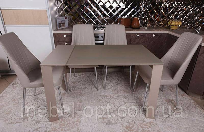 Современный обеденный раскладной стол Bristol S (Бристоль С), цвет капучино, МДФ, каленое стекло 10 мм