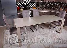 Современный обеденный раскладной стол Bristol S (Бристоль С), цвет капучино, МДФ, каленое стекло 10 мм, фото 2