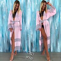Пляжная туника - халат женская длинная шифон розовый с серым