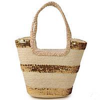 Женская сумка-корзина с паетками