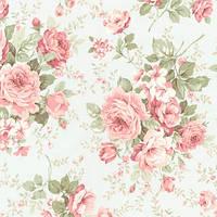 """Ткань розы винтаж, крупный принт, на выбор голубой или зелено-бежевый, коллекция """"Марго"""""""