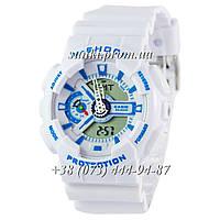 Неубиваемые спортивные наручные часы Casio G-shock GA-110 White-Blue