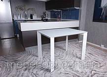 Современный обеденный раскладной стол Bristol S (Бристоль С), цвет белый, МДФ, каленое стекло 10 мм, фото 2