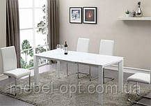 Современный обеденный раскладной стол Bristol S (Бристоль С), цвет белый, МДФ, каленое стекло 10 мм, фото 3