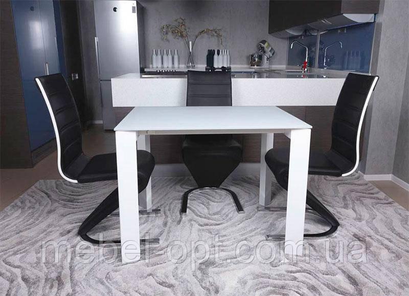 Современный обеденный раскладной стол Bristol S (Бристоль С), цвет белый, МДФ, каленое стекло 10 мм