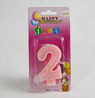 Свечи  цифры  (в торт) № 2-21 цветные №2