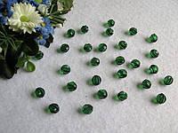Бусины хрустальные насыщенный зеленый 8 мм (искусственные)