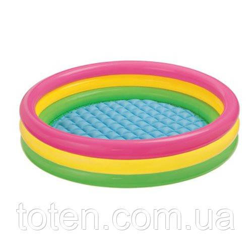 """Надувний дитячий басейн Intex 57412 """"Веселка"""" коло, 4 кільця, 114-26 см"""