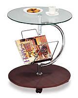 Кофейный столик SR-0296-W, сервировочный кофейный столик с газетницей на колесиках