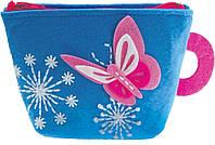 Рукоделие войлочные: Бумажник синий - Бабочка