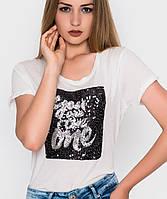 Женская футболка с пайетками (5084sk)