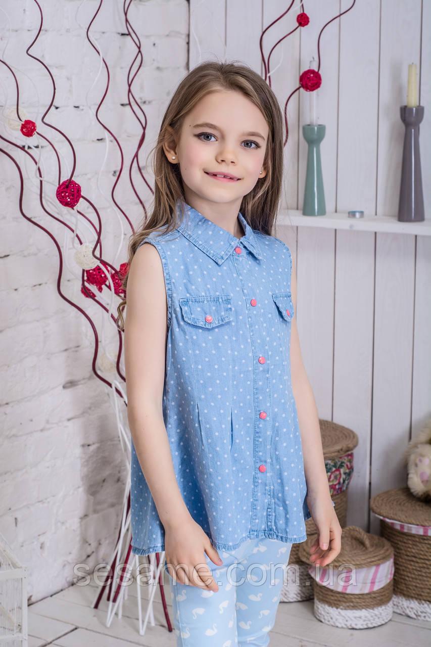 Джинсовая блузка для девочки горошек