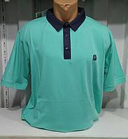 """Мужская футболка большой размер поло """"Ф"""" зеленая"""