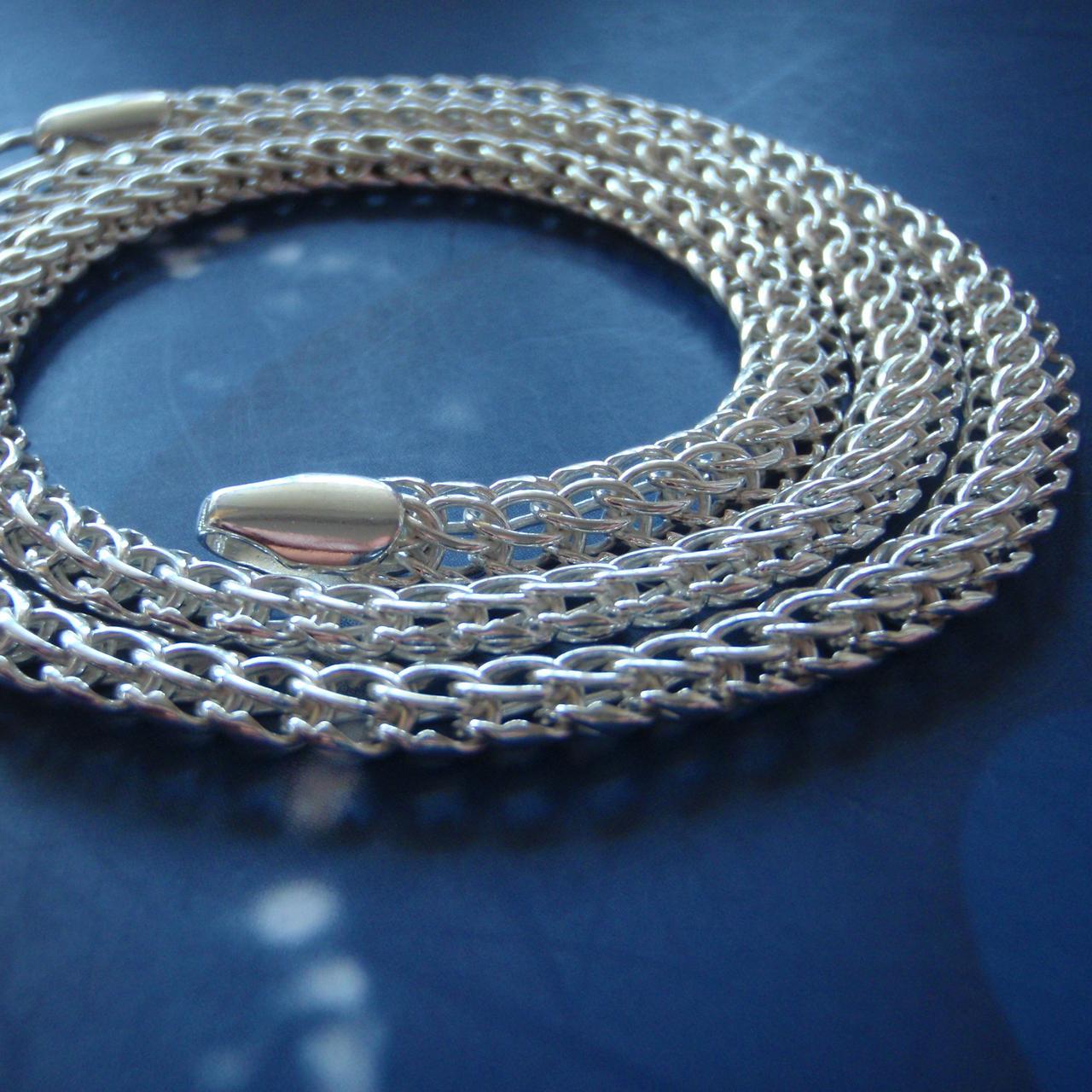 Серебряная цепочка, 600мм, 34 грамма, плетение Питон, светлое серебро