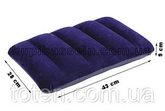 Подушка надувная флокированная Intex 68672 (48х32х9см) синяя
