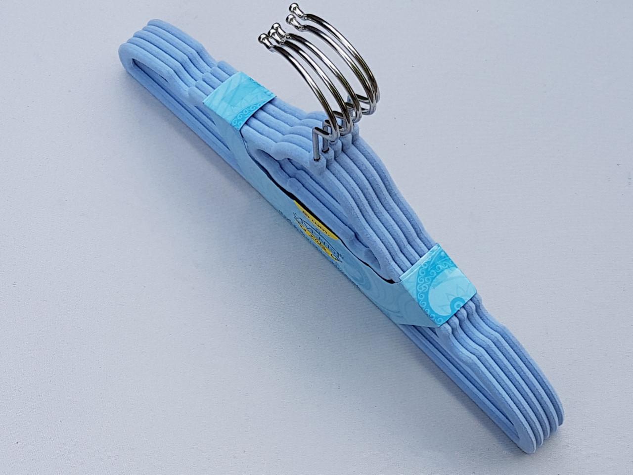 Плечики вешалки детские флокированные (бархатные, велюровые) голубого цвета,длина 32,5 см, в упаковке 5 штук