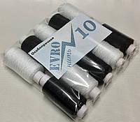 Нить Швейная ПОЛНЫЙ НАМОТ, толщина № 10 х/б чёрный, белый